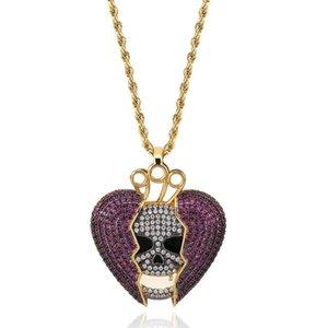 18K позолоченный Hip Hop персонализированный Skeleton Разбитое сердце кулон ожерелье цепи Медь Iced Out Фиолетовый CZ Кубический циркон для мужчин и женщин