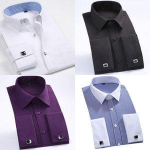 New Style Cotton White Men Wedding Prom Dinner Groom Shirts Wear Bridegroom Man Shirt Classic Striped Men Dress Shirts ( 37--46 )