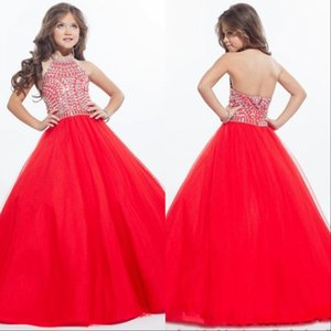 Sparkly Girls Pageant Abiti per ragazzi Halter Tulle Floor Length Strass Little Girls Prom Party Dresses