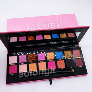 NEW Make-up-Palette Amrezy Lidschatten-Palette 16 Farben-Schimmer Nude Matte Lidschatten mit Pinsel weich Schönheit Palette