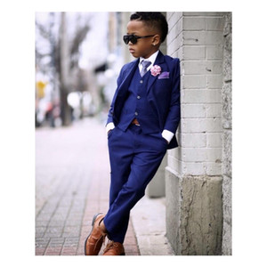 Mariage Blue Boy royal Tuxedos 2021 Deux boutons Bouton Notched Vapel Enfants Suit Fête Enfants Bague Bilan Costumes (veste + pantalon + Vest + Cravate)