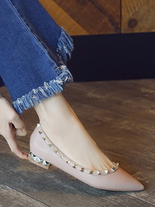 Free2019 Pregnant Bottom Non-slip Woman Rivet Sharp Autumn Shoes Shallow And Thick Mouth Willow Nail With Single Shoe