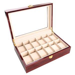 Rectángulo de la vendimia Inicio regalos caja de la joyería organizador del almacenaje de los contadores de la caja del reloj de madera maciza de vidrio antideslizante del soporte de exhibición con la cerradura