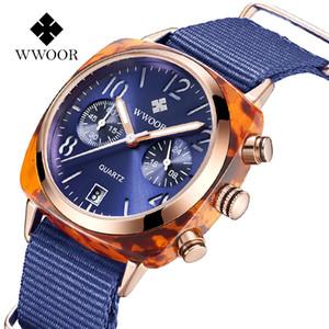 Wwoor сцепление любовь 8860 мужской водонепроницаемый кварц шесть игла календарь часы моды ткань группа часы