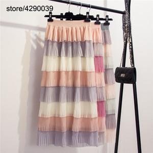 Corée jupe gâteau arc-en-mousseline de soie multi-niveaux correspondant de couleur douce d'été enchemisé ébouriffé jupes de fées jupe