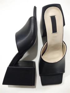 2019 Moda Sandalet Kadınlar Orta topuk Sandal Gerçek Deri Yüksek Topuklar Şeffaf PVC Kristal Sandal Kare Toe Kadınlar Terlik yüksek 6cm ile, 9CM