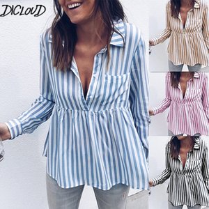 DICLOUD Fashion new autumn casual blouse woman simple long sleeve striped shirt woman blue V-neck sexy women's Tops S-XL