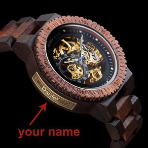 Персонализированные Customiz Часы Мужские БОБО BIRD Вуд Автоматические часы Relogio OEM Мужчина для Юбилейные подарки для него бесплатную гравировку