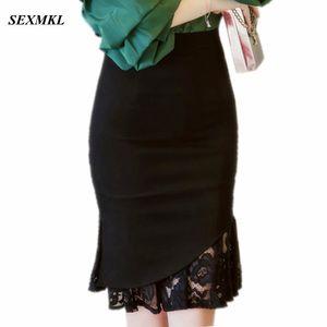 SEXMKL женщин кружева Pactwork юбки 2019 Высокая Талия повседневная лето сексуальные юбки тонкий красный офис Леди работа черный плюс размер