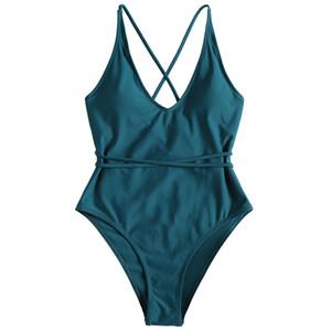 Yozihis Women Cross Back High Cut Swimwear One Piece Spaghetti Straps Criss Cross Padded High Leg Cami Swimsuit Women Bikinis