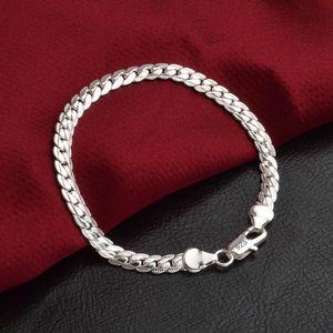 5MM رجال أساور 925 الفضة مطلي شقة سلسلة تصاميم مجوهرات أزياء للهدايا عيد الميلاد النساء حفلة عيد الميلاد 20CM
