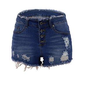 Dilusoo женские летние джинсовые шорты Дырки Тощий карандаш брюки джинсы женщина Упругие повседневные женские Пуговицы рваные шорты джинсы 2020