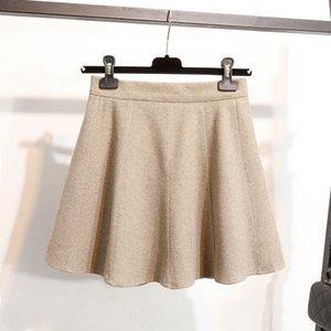2019 New Short Skirt Grosso Feminino lã saia Slim cintura alta Umbrella A Linha Natural