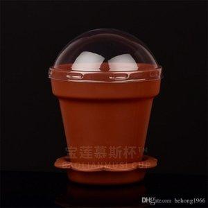 Plastic Flower Pot Cake Cup multi colori Ice Cream Tazza ecoration senza coperchio e cucchiaio dessert Tumbler modo 0 48bl BB