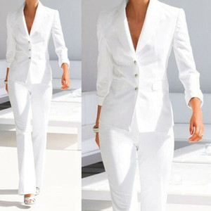 New White Women Ladies Straight Pant Suits Set Office Evening Formal Party Prom Wear Jacket Coat(Jacket+Pants)