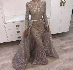 2020 Nueva Bling de plata de oro de noche con lentejuelas Vestidos Vestidos sirena del cuello de las lentejuelas de manga larga sobrefaldas Prom partido del vestido del cordón de la joya