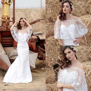 Nuevo fuera del hombro de boda cortos de novia Cabo chaquetas abrigos con apliques con cuentas de encaje Bolero tapa del mantón del encogimiento de hombros