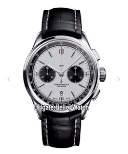 El nuevo caso de Premier B01 Acero AB0118221G1P1 VK cronógrafo de cuarzo para hombre reloj cronómetro esfera blanca correa de cuero Relojes Hello_Watch de 6 colores