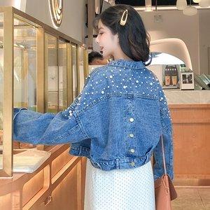 2019 mulheres primavera e keine outono de manga longa de bolso Jaqueta Jeans mulheres Soltas Jaqueta retro Jeans feminino