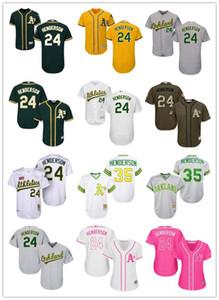 бесплатная доставка пользовательские Окленд OaklandAthletics 24 Рики Хендерсон бейсбол Джерси Атлетика бейсбол одежда мужчин женщин молодежные майки