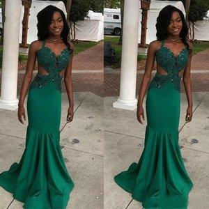 Темно-зеленые платья выпускного вечера 2020 V шеи Холтер рукавов Backless Пром платье развертки Поезд Sexy Black Grils сшитое Party Wear