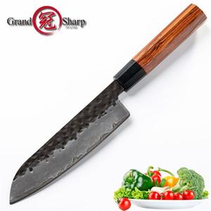 7-дюймовый нож Santoku Кухонные ножи ручной работы японский 3 слоя AUS10 Высокоуглеродистой стали Шеф-повар Кулинария Инструменты Подарочная коробка Grandsharp