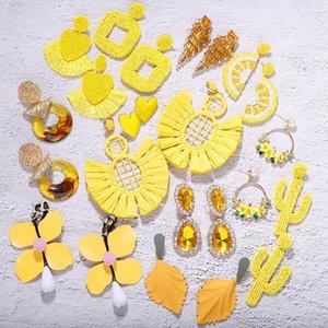 Declaração Dvacaman Inverno Yellow Tassel de pedra flor de cristal brincos mulheres Handmade Beads Dangle brincos jóia do casamento