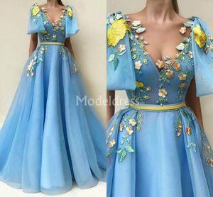 Büyüleyici Mavi Gelinlik A-Line Tül Kat Uzunluk Nakış Örgün Parti Akşam elbise Cepler Aplikler Chic Özel Durum Elbise