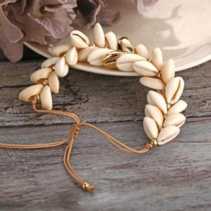 2020 Natural Cowrie Gold Color Sea Shell Bracelets for Women Delicate Rope Chain Bracelet Beads Charm Boho Summer Beach Jewelry