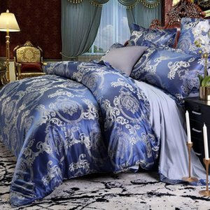 40 Luxury Bedding Sets Jacquard Queen King Size Duvet Cover Set wedding Bedclothes Bed Linen bed Blue