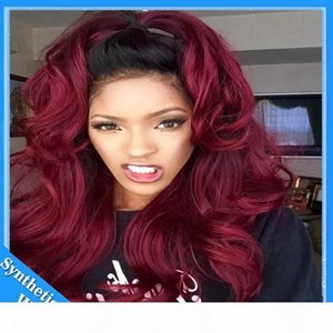 L Free Shipping Black To 99j Burgundy Wine Red Ombre Wig Body Wave Natural Synthetic Lace Front Wigs Heat Resistant Hair Swiss Lace Wig