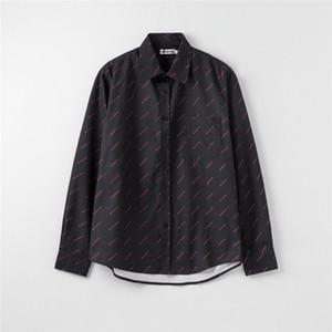 Мужские дизайнерские рубашки бренд женская блузка весна осень с длинным рукавом рубашки роскошные нагрудные шеи мода Письмо печати рубашки M-2XL C1 2040204V