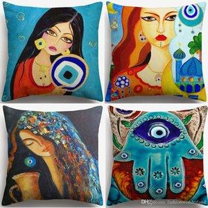 Hamsa Hand Evil Eye Cushion Cover Islam Arabian Girl Oil Painting Cushion Cover Linen Cotton Pillow Case Sofa Chair Decoration