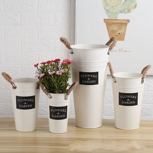 Feuille de création de fer Dryflower Planteur Lettre Fleurs Jardin peint Flowerpot Avec Plant corde de chanvre naturel seau Fit Flower Shop 10 8lh3 E1