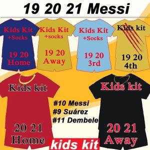19 20 MESSI Griezmann Kids kit del fútbol jerseys Rakitic SUAREZ PIQUE hogar lejos camisetas de fútbol DE JONG DEMBELE F. DE JONG RAFINHA Traje