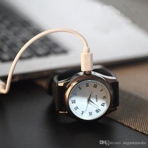 Reloj creativo sin llama USB encendedor relojes MenWristwatches correa de acero de tungsteno encendedor de cigarrillos mayor cantidad