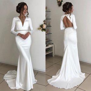 2020 Long Sleeves Wedding Gowns with Beaded Sash V Neck Backless Vestidos De Novia Sweep Sheath Wedding Dresses