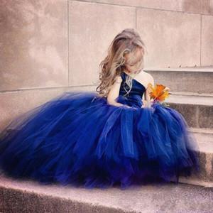 Puffy Royal Blue Flower Girls Robes Tulle Une épaule Enfants Adolescents Robe de fête d'anniversaire pour une robe de cuisine pour mariage