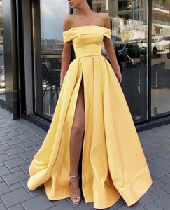 Elegant Yellow Evening Dresses 2019 com Strapless Dubai Split Formal Vestidos Party Prom Dress Special Ocasião Vestidos