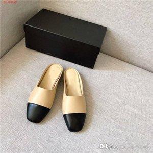 Las mujeres de cuero clásico de las zapatillas planas para 2019 resbalón en sandalias para la señora de la elección de una variedad de color de media zapatilla con la caja