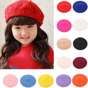ربيع الأطفال القبعات قبعة الشتاء طفل بنات الطفل لؤلؤي قبعة دافئة القبعات الاطفال قبعة القبعات الصلبة اللون المشي بونيه