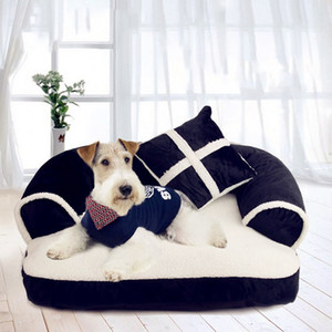 Luxe Double-coussin Pet canapés-lits avec oreiller amovible de lavage doux en molleton Lit pour chat chaud petit chien Lit