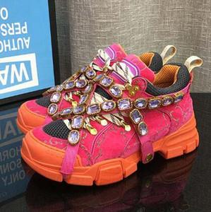 Os mais recentes FlashTrek Designer Sneaker com cristais removíveis Mens Designer de Luxo Casual Shoes Womens Shoes Moda Luxo Designer Sapatilhas 10