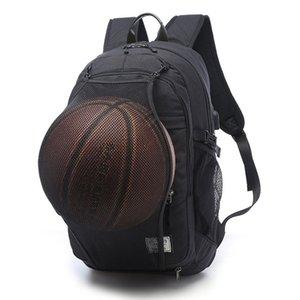 Homens USB Laptop Backpack com bola Armazenamento Headphones Buraco Lazer Waterproof Viagem Oxford Bag