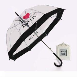 Ein langer Griff Regenschirme Frau im Freien Artikel Beliebte Schnurrbart Druck Transparent Regenschirm für Dame Geschenk Viele Styles