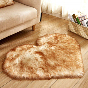 Heart Pattern Carpet Wool Imitation Sheepskin Rugs Mat Faux Fur Non Slip Bedroom Tapetes Mats 40 x 50 cm