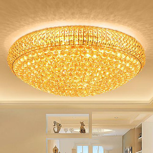 LED crystal chandeliers noble  gold high class K9 crystal chandelier hotel lobby villa led pendant chandeliers with bulbs