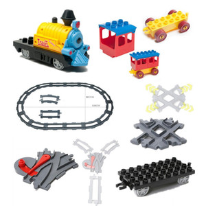 Train Building Blocks Accessory Coach Cross Track Swtich Railway Bricks Parts DIY Baby Toys Compatible with Duplo