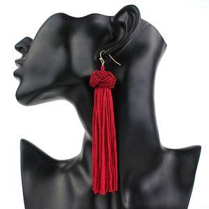 fatti a mano Bohemian tessuti lunghi orecchini moda cinese nodo orecchini tassle per le donne del partito del regalo monili di nozze