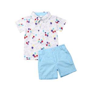 Kleinkind-Kind-Baby-Boy Fashion Gentleman Kleidung Druck Hemd Tops Shorts Hosen Formal Outfit